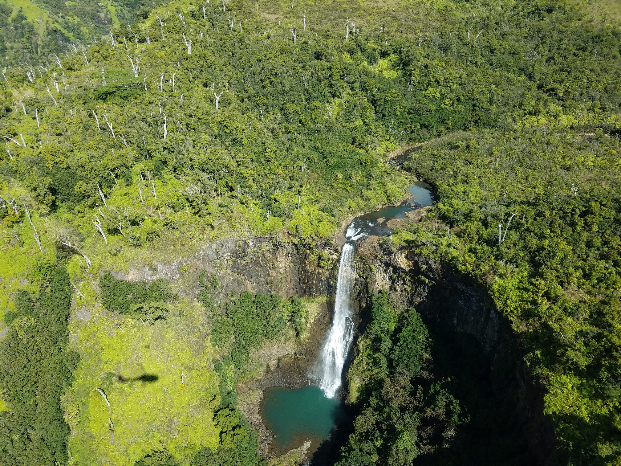 Ariel view of waterfall